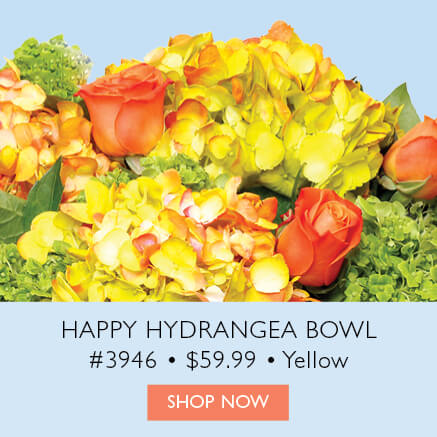 Happy Hydrangea Bowl, Yellow
