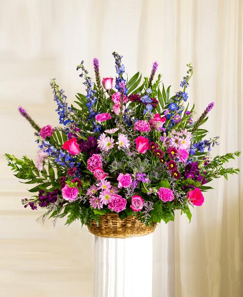 Graceful Lavender Funeral Basket #492